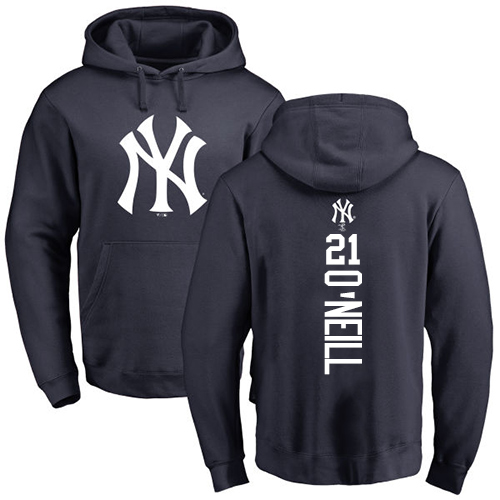 MLB Nike New York Yankees #21 Paul O'Neill Navy Blue Backer Pullover Hoodie