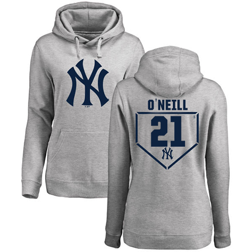 MLB Women's Nike New York Yankees #21 Paul O'Neill Gray RBI Pullover Hoodie