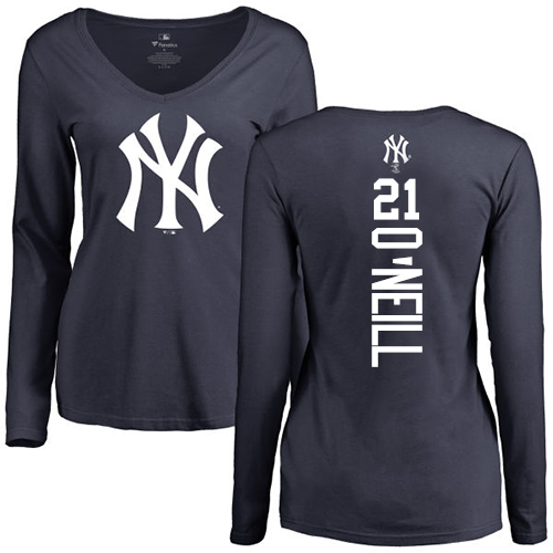 MLB Women's Nike New York Yankees #21 Paul O'Neill Navy Blue Backer Long Sleeve T-Shirt