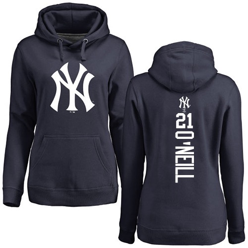 MLB Women's Nike New York Yankees #21 Paul O'Neill Navy Blue Backer Pullover Hoodie