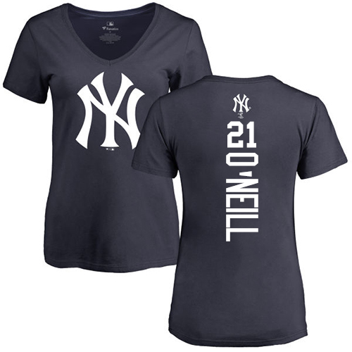 MLB Women's Nike New York Yankees #21 Paul O'Neill Navy Blue Backer T-Shirt