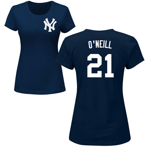 MLB Women's Nike New York Yankees #21 Paul O'Neill Navy Blue Name & Number T-Shirt