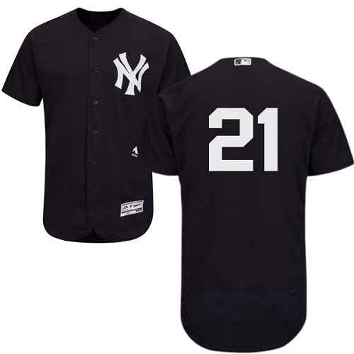 Men's Majestic New York Yankees #21 Paul O'Neill Navy Blue Alternate Flex Base Authentic Collection MLB Jersey