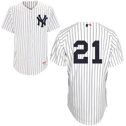 Men's Majestic New York Yankees #21 Paul O'Neill Replica White Cooperstown MLB Jersey