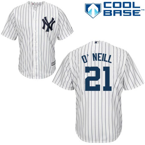 Men's Majestic New York Yankees #21 Paul O'Neill Replica White Home MLB Jersey