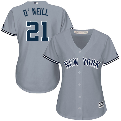 Women's Majestic New York Yankees #21 Paul O'Neill Authentic Grey Road MLB Jersey