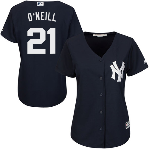 Women's Majestic New York Yankees #21 Paul O'Neill Authentic Navy Blue Alternate MLB Jersey