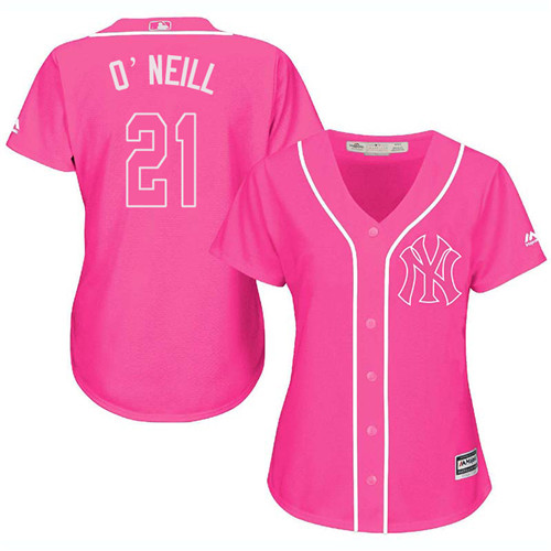 Women's Majestic New York Yankees #21 Paul O'Neill Authentic Pink Fashion Cool Base MLB Jersey