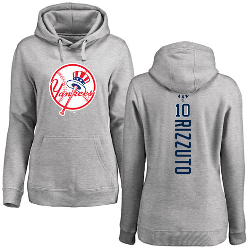 MLB Women's Nike New York Yankees #10 Phil Rizzuto Ash Backer Pullover Hoodie