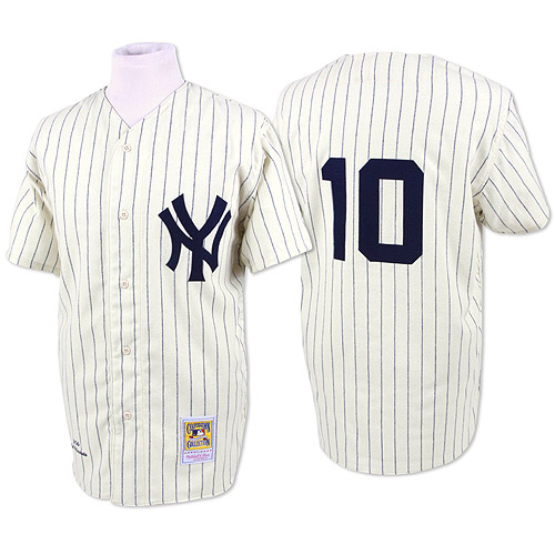 Men's Mitchell and Ness New York Yankees #10 Phil Rizzuto Replica White Throwback MLB Jersey