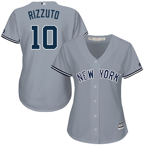 Women's Majestic New York Yankees #10 Phil Rizzuto Authentic Grey Road MLB Jersey