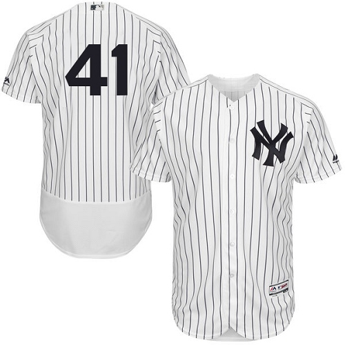 Men's Majestic New York Yankees #41 Randy Johnson White Home Flex Base Authentic Collection MLB Jersey
