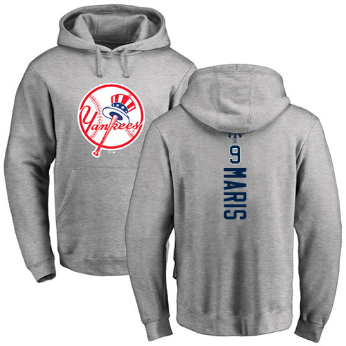 MLB Nike New York Yankees #9 Roger Maris Ash Backer Pullover Hoodie