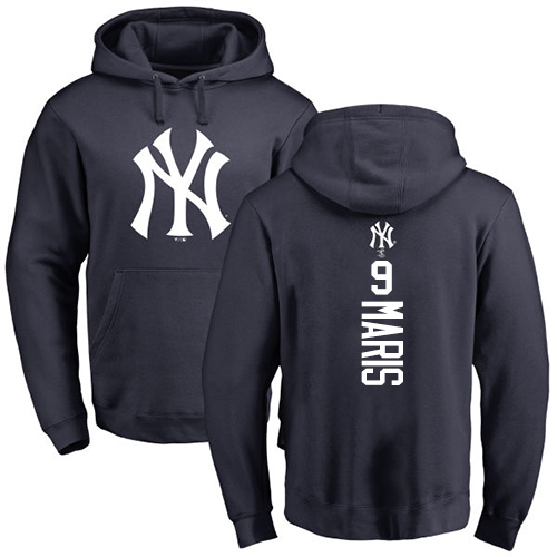 MLB Nike New York Yankees #9 Roger Maris Navy Blue Backer Pullover Hoodie