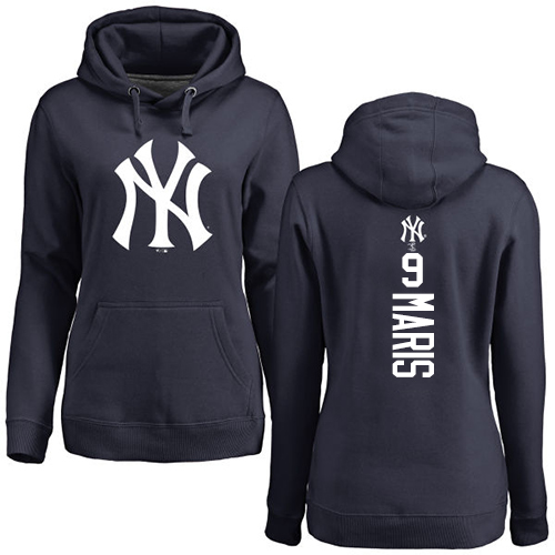 MLB Women's Nike New York Yankees #9 Roger Maris Navy Blue Backer Pullover Hoodie