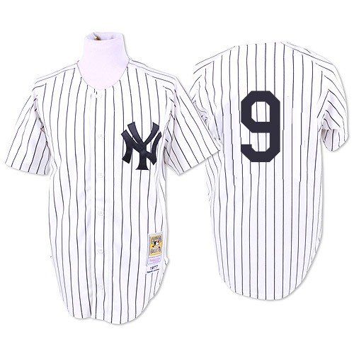 Men's Mitchell and Ness 1961 New York Yankees #9 Roger Maris Authentic White Throwback MLB Jersey