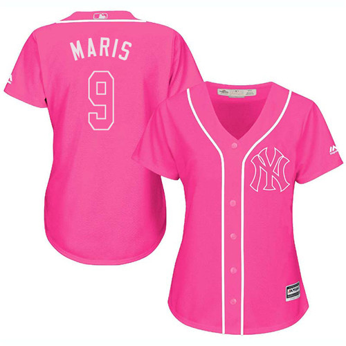 Women's Majestic New York Yankees #9 Roger Maris Authentic Pink Fashion Cool Base MLB Jersey