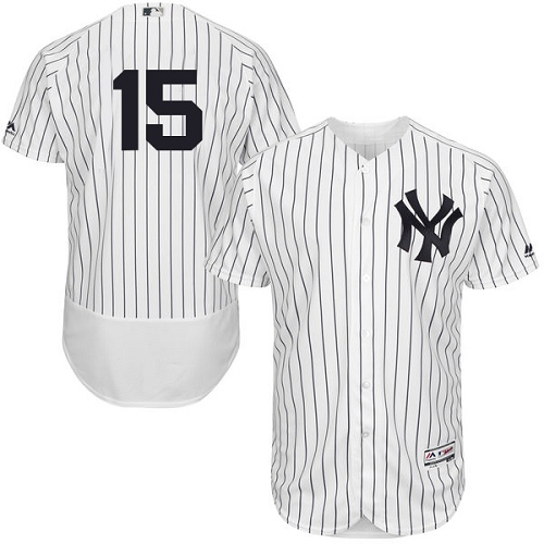 Men's Majestic New York Yankees #15 Thurman Munson White Home Flex Base Authentic Collection MLB Jersey