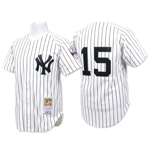 Men's Mitchell and Ness New York Yankees #15 Thurman Munson Authentic White Throwback MLB Jersey