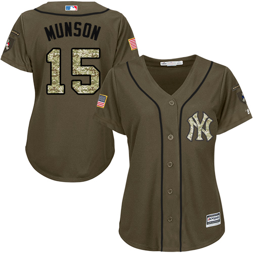 Women's Majestic New York Yankees #15 Thurman Munson Authentic Green Salute to Service MLB Jersey