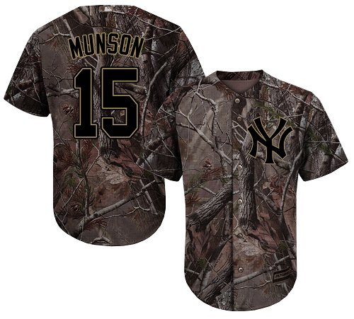 Youth Majestic New York Yankees #15 Thurman Munson Authentic Camo Realtree Collection Flex Base MLB Jersey