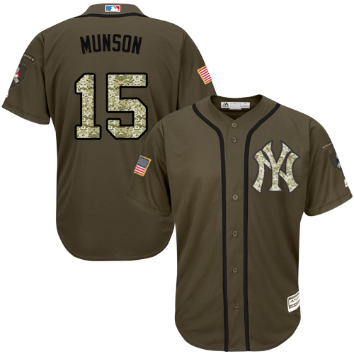 Youth Majestic New York Yankees #15 Thurman Munson Authentic Green Salute to Service MLB Jersey