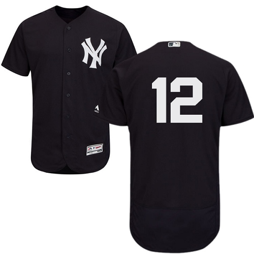 Men's Majestic New York Yankees #12 Wade Boggs Navy Blue Alternate Flex Base Authentic Collection MLB Jersey