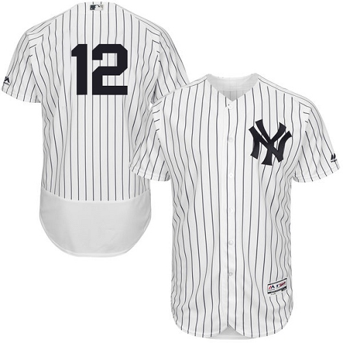 Men's Majestic New York Yankees #12 Wade Boggs White Home Flex Base Authentic Collection MLB Jersey