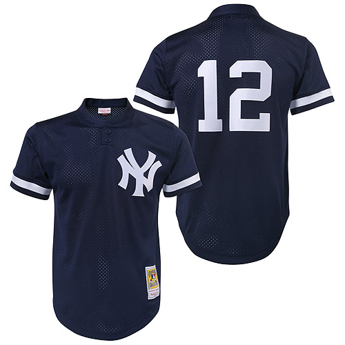 Men's Mitchell and Ness 1995 New York Yankees #12 Wade Boggs Authentic Blue Throwback MLB Jersey