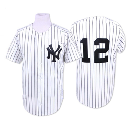 Men's Mitchell and Ness New York Yankees #12 Wade Boggs Authentic White 1996 Throwback MLB Jersey