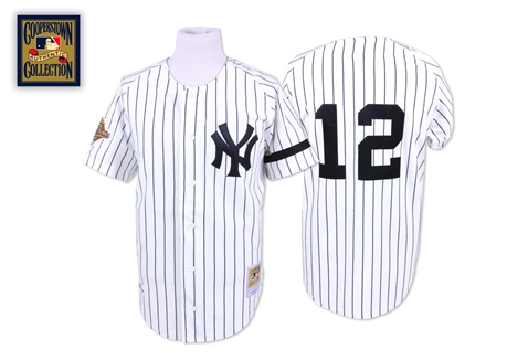 Men's Mitchell and Ness New York Yankees #12 Wade Boggs Authentic White Throwback MLB Jersey