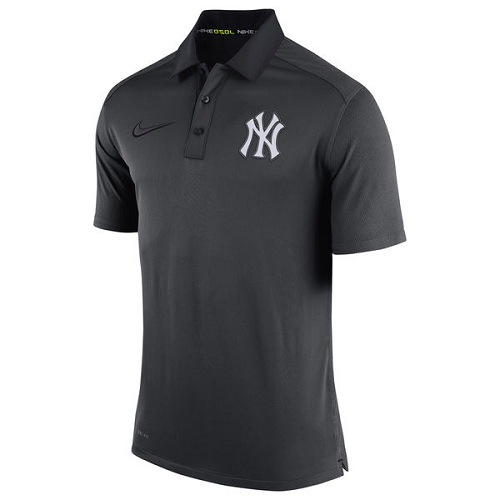 MLB Men's New York Yankees Nike Anthracite Authentic Collection Dri-FIT Elite Polo