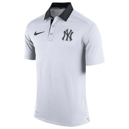 MLB Men's New York Yankees Nike White Authentic Collection Dri-FIT Elite Polo