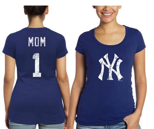 MLB New York Yankees Majestic Threads Women's Mother's Day #1 Mom T-Shirt - Navy Blue