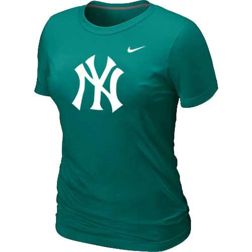 MLB Women's New York Yankees Nike Heathered Blended T-Shirt - Aque Green